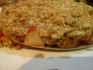 Delicious warm dessert of melt in mouth apple and strawberry with a crispy layer of oats and wheat flour.......