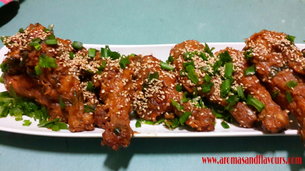 Honey and sesame chicken legs