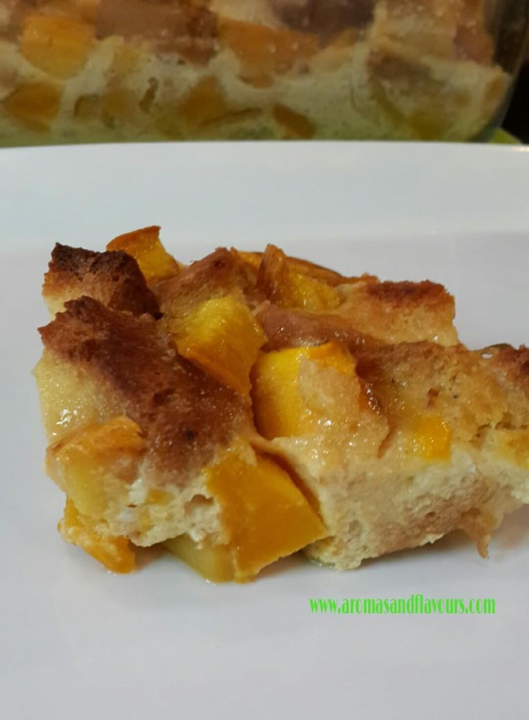 Warm slice of Mango bread pudding