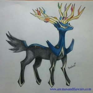 Xerneas- a legendary Pokemon sketched by my daughter
