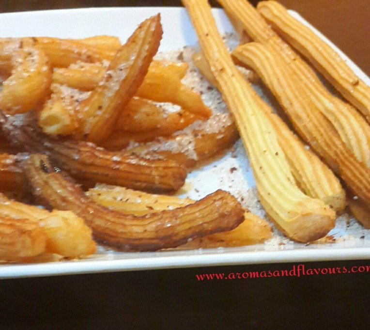 Fried churros on the left and baked ones on the right