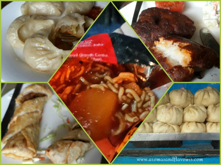 Momos,Fish Orra,Giant Momos,Spring rolls. Aloo dum in the centre.